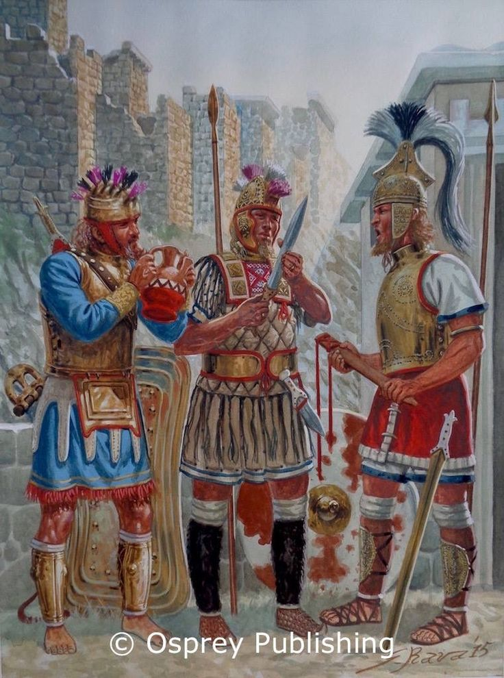Achaean kings (Menelaus, Diomedes and Agamemnon) in conference the morning after the sack of Troy.