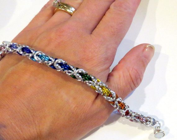 PawInspiredCreations/Rainbow Byzantine Weave Chainmaille