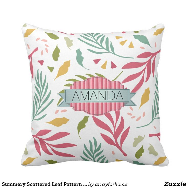 Scattered leaves in rose pink and shades of green and gold are the background for a beautiful banner label to hold your name or other text on this cheerful throw pillow design. Search ID387 to see other products with this pattern.