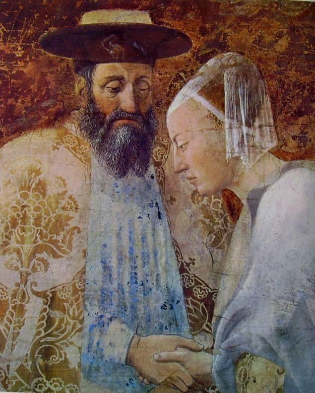 Piero della Francesca - Salomone e la Regina di Saba - Storie della Vera Croce, 1452-1458 Basilica di San Francesco, Arezzo