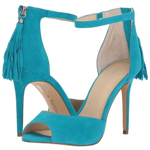 Botkier Anna Sandal (Turquoise) Women's 1-2 inch heel Shoes ($118) ❤ liked on Polyvore featuring shoes, sandals, tassel sandals, stiletto sandals, platform sandals, strappy sandals and peep toe sandals