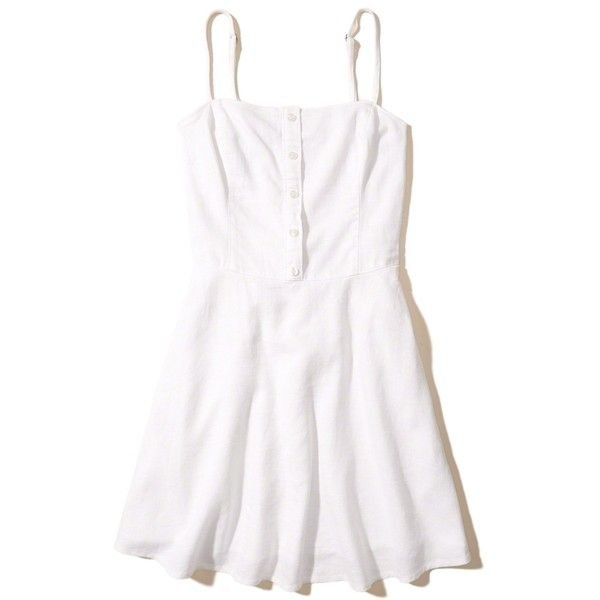 Hollister Button-Front Skater Dress (68 CAD) ❤ liked on Polyvore featuring dresses, white, button front dress, skater skirt, smocked dresses, circle skirts and white cami dress