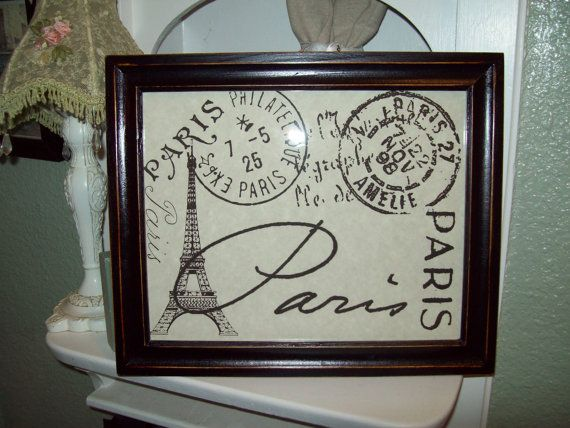 Shabby French distressed decorative Eiffel Tower postage stamps frame...etsy