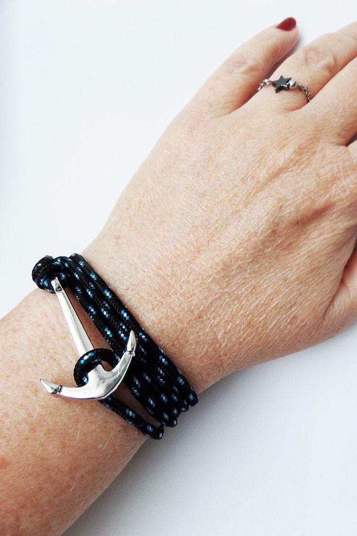 Bracelet ancre de marine argentée. Cordon NOIR paracorde. Bracelet unisexe. Bracelet nautique. Bracelet Marin. Bracelet ado. Drisse été 2016 de la boutique BBSdeParis sur Etsy