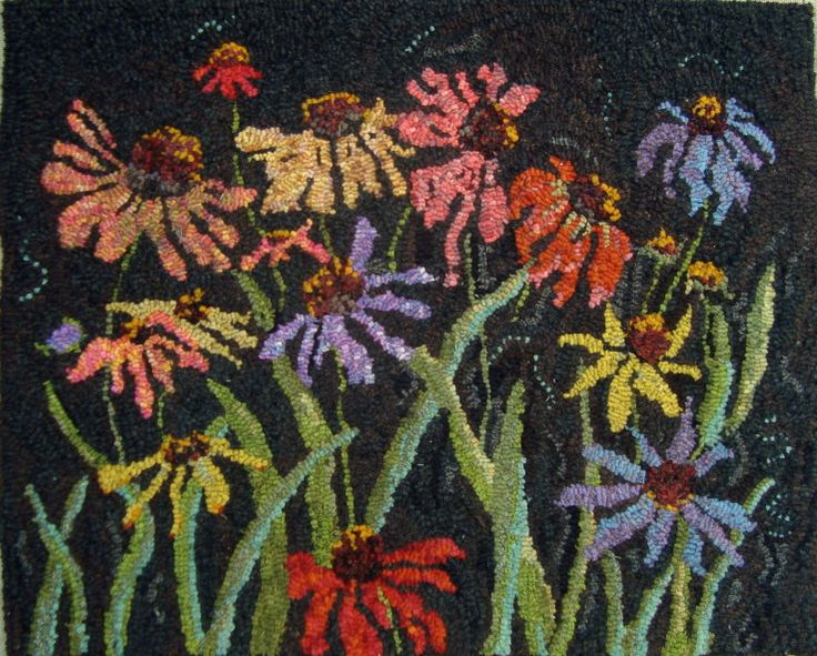 Coneflowers By Sharon Smith Pattern And Complete Rug Hooking Kit