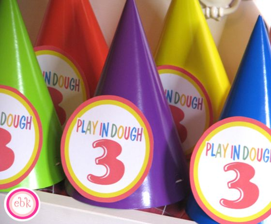 Colorful Play Doh party by @Amanda Burmeister By Kate #parties #party #playdoh #partyhats