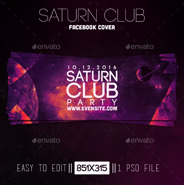 Saturn Club Party Facebook Cover Template PSD