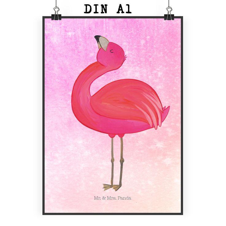 Poster DIN A1 Flamingo stolz aus Papier 160 Gramm  weiß - Das Original von Mr. & Mrs. Panda.  Jedes wunderschöne Motiv auf unseren Postern aus dem Hause Mr. & Mrs. Panda wird mit viel Liebe von Mrs. Panda handgezeichnet und entworfen.  Unsere Poster werden mit sehr hochwertigen Tinten gedruckt und sind 40 Jahre UV-Lichtbeständig und auch für Kinderzimmer absolut unbedenklich. Dein Poster wird sicher verpackt per Post geliefert.    Über unser Motiv Flamingo stolz  Flamingos sind das…