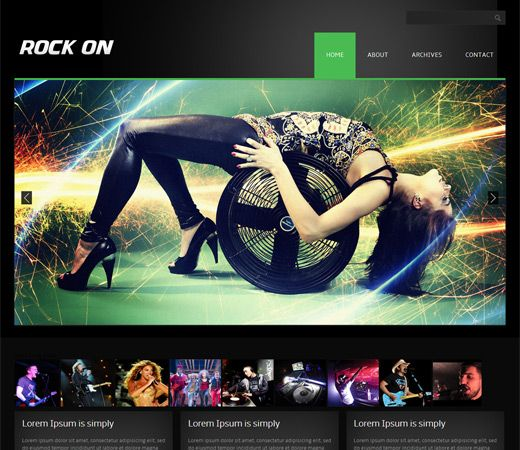Rock On Free #Responsive #HTML5 #CSS3 #Mobileweb Template