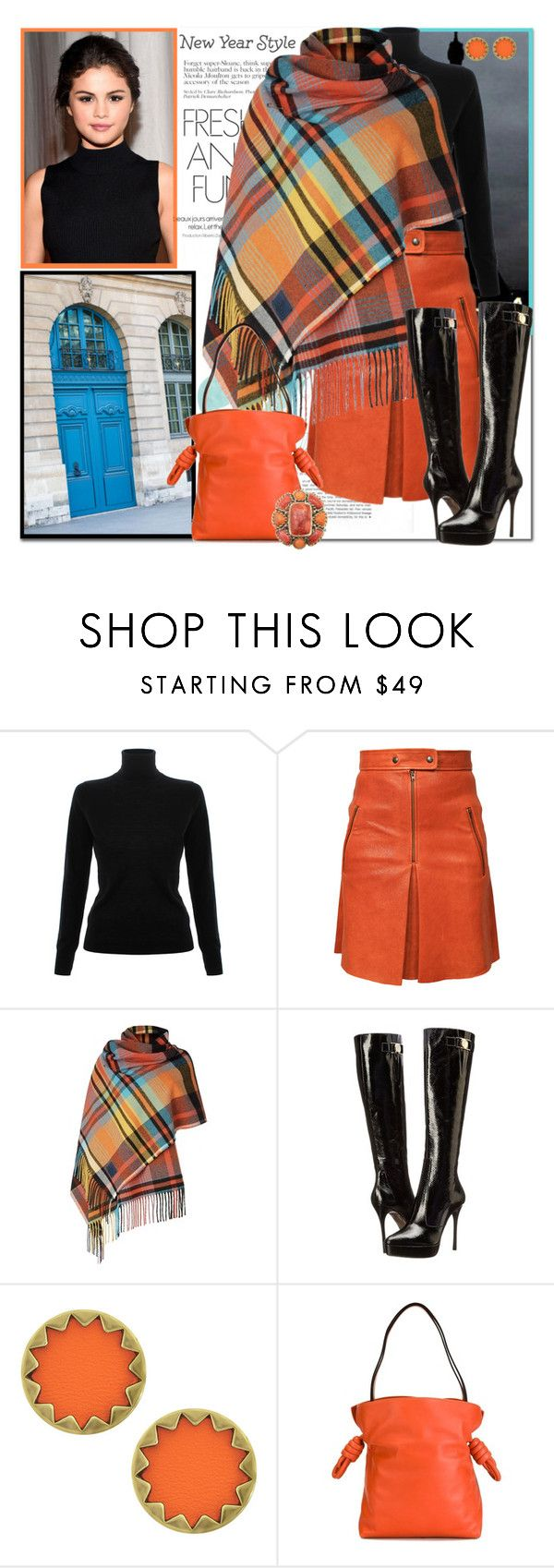 """New Year New Style_Leather Skirt and Poncho"" by msmith801 ❤ liked on Polyvore featuring Victoria, Victoria Beckham, Isabel Marant, OUTRAGE, Versace, House of Harlow 1960, Loewe, Color and colors"