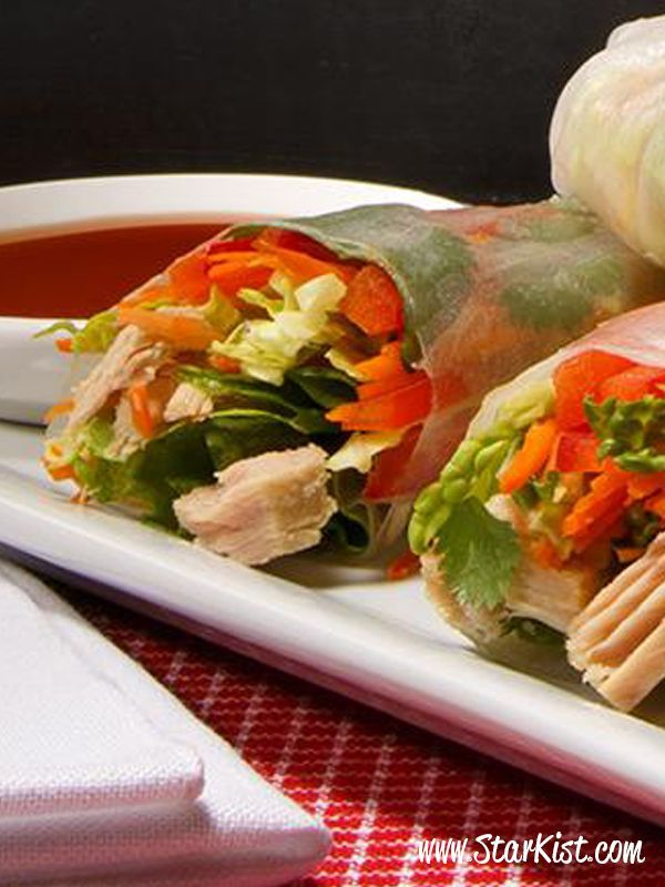 Now we're rolling…add premium tuna and some colorful veggies. Who wouldn't want to try these Thai Style Spring rolls? [Promotional StarKist Pin]