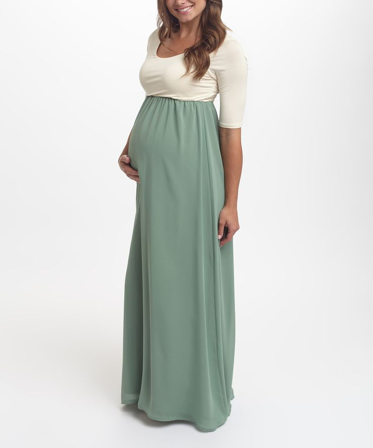 Loving this PinkBlush Cream & Sage Chiffon Colorblock Maternity Maxi Dress on #zulily! #zulilyfinds