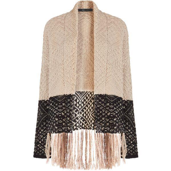 BCBGMAXAZRIA Eliana Knit Jacquard Fringe Cardigan (5 740 UAH) ❤ liked on Polyvore featuring tops, cardigans, pink cardigan, retro tops, pink knit top, knit tops and fringe cardigan