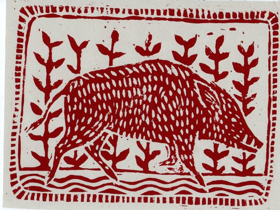 Red Lino Print of a Boar