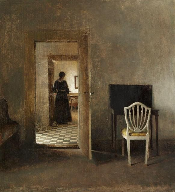 Interior of Liselund with a woman standing in a doorway, 1907 - Peter Vilhelm Ilsted