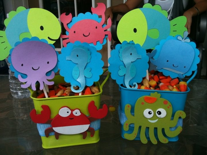 "centerpieces for an ""under the sea"" themed baby shower"