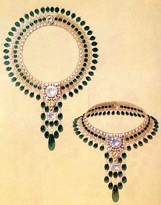Boucheron sketch of a necklace in diamonds and emeralds, designer for the Maharajah of Patiala, 1928