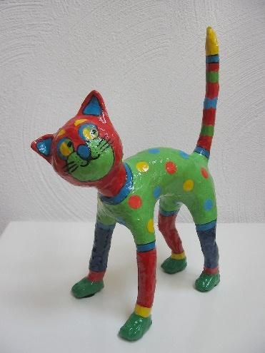 Papier Mache Cat.  Super cute.