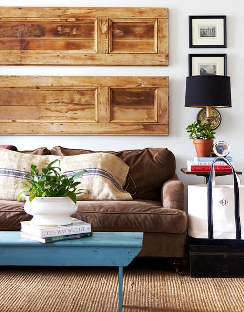 If architectural salvage really gets you going, try repurposing vintage wooden doors or shutters as dramatic over-the-sofa art.