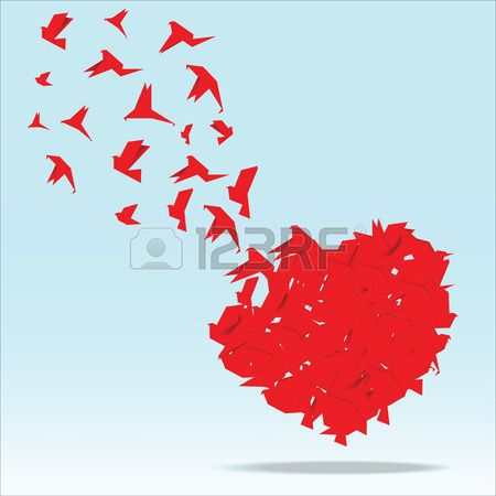 Rood hart met origami vogel vector illustratie Stockfoto