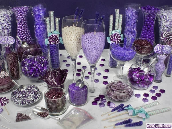 Purple Candy Buffet    Featuring the color of royalty, this extravagant candy includes delicious purple sweets in an assortment of sizes, flavors, and shapes. Treat your party guests like kings and queens with an outstanding array of purple delights. candie-buffet
