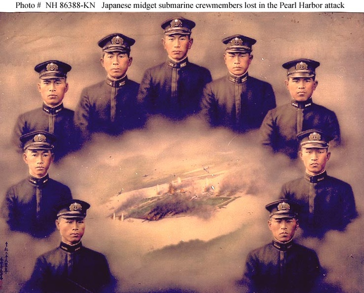 Wartime painting in oils on silk, by an unidentified Japanese artist, depicting the four officers and five crewmen who were lost with the five Japanese midget submarines that participated in the attack.