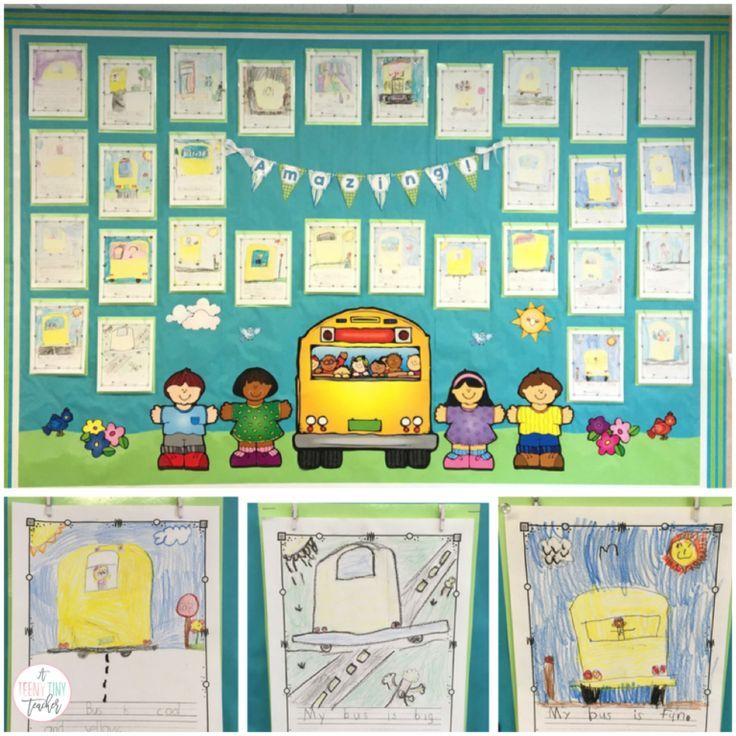 A Teeny Tiny Teacher - Bus directed drawing bulletin board