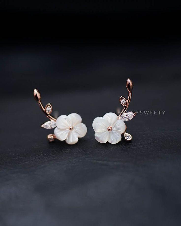 CZ ear jacket, ear cuff jacket, gold ear jacket, Floral simple, unique Pearl Shell flower earrings, pearl earrings by JennySweety on Etsy https://www.etsy.com/uk/listing/259803584/cz-ear-jacket-ear-cuff-jacket-gold-ear