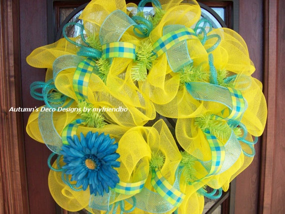 Yellow Apple Green and Turquoise Flowered Spring by myfriendbo, $60.00