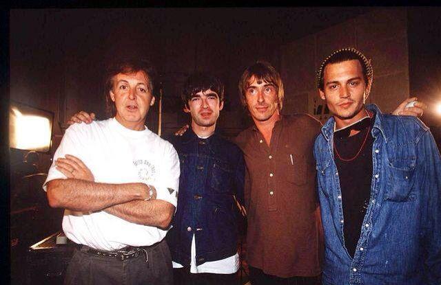 Paul McCartney, Noel Gallager, Paul Weller and Johnny Depp. 1995 at the abby road studios