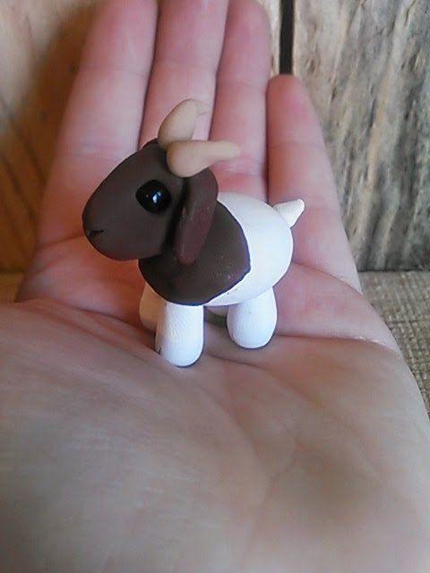 Bella a polymer clay goat goat art clay farm by BubbiCreatures