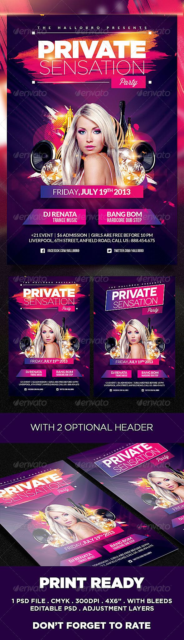 Sensation Party Flyer Poster Template - Clubs & Parties Events