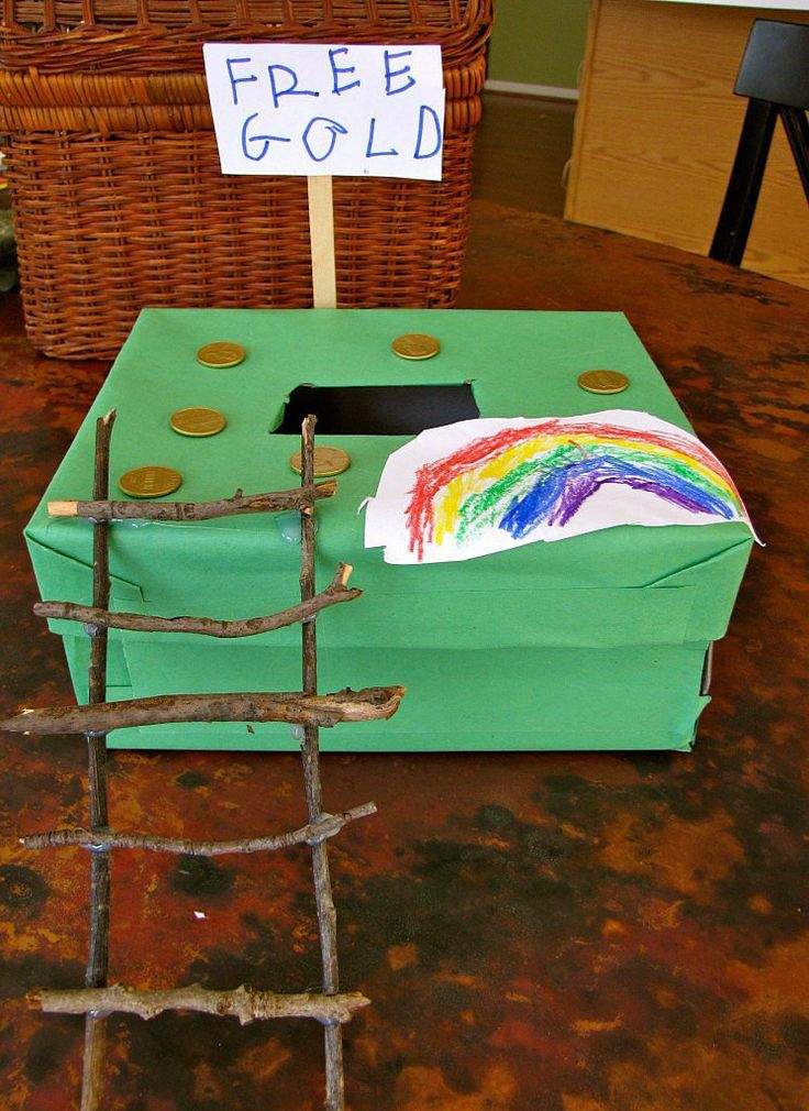 A Shoebox Trap: A simple shoebox serves as the basis of this cute trap that is sure to lure in a nosy leprechaun. Source: Creekside Learning