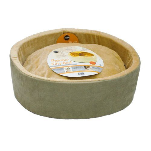 The K&H Thermo-Kitty Bed includes a dual thermostat 4 watt heating unit buried within its thick premium polyfil pillow base. It warms the surface 10-15 degrees above ambient air temperature when not ...