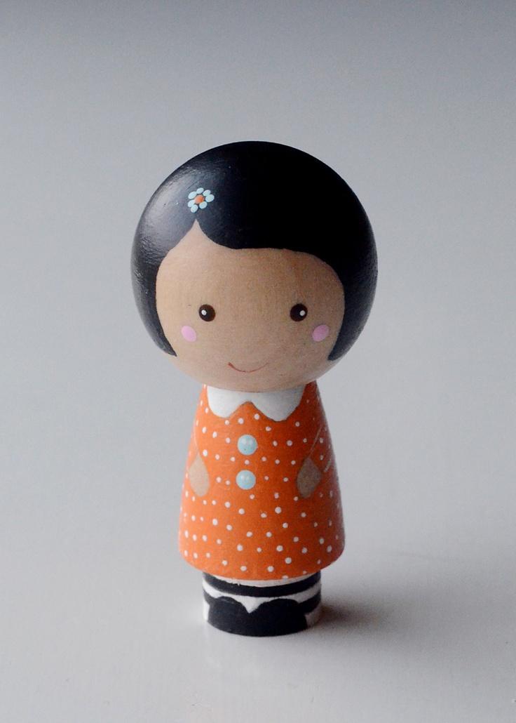 Wooden Kokeshi Peg Doll Girl Betsy Lou. $15.00, via Etsy.  Adorable
