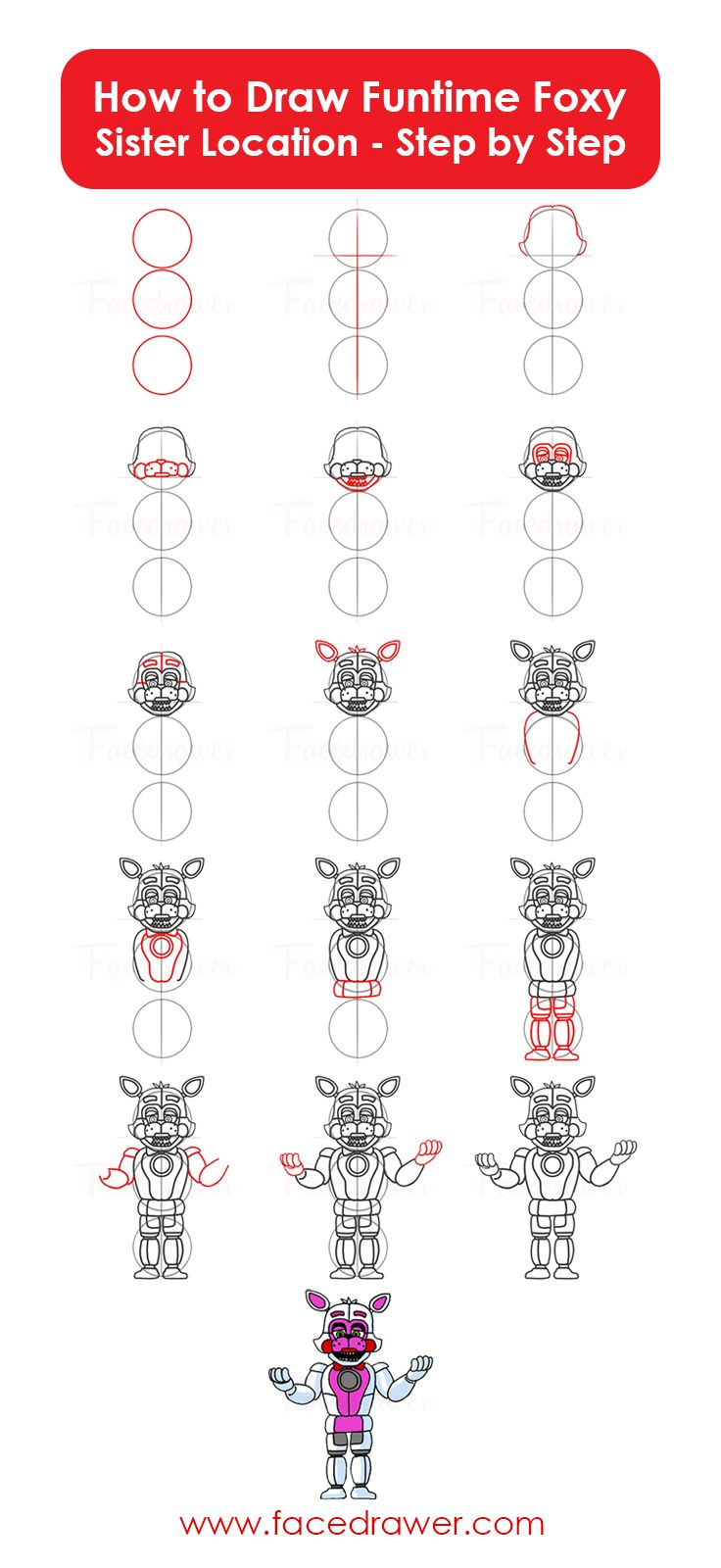 How to draw fnaf freddy steps - Learn How To Draw Easy Funtime Foxy From Fnaf Sister Location Step By Step