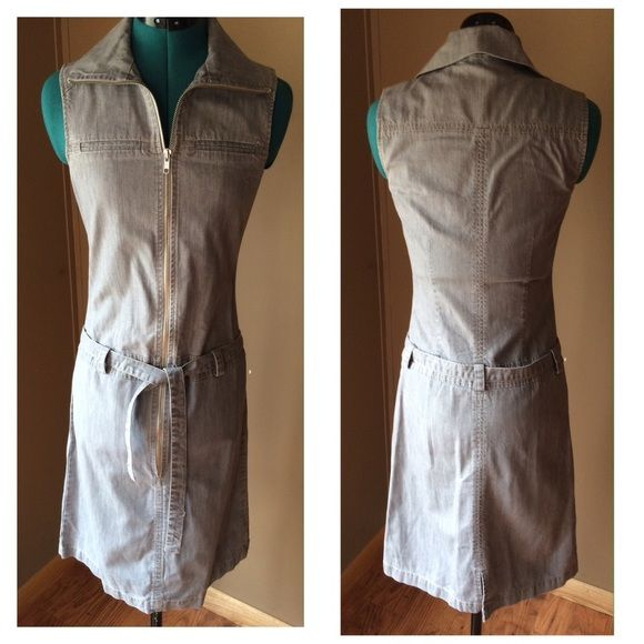 """Etam Gray Denim Rock Chic Dress Gorgeous sleeveless gray fitted zip up dress from Etam Boutique UK.  Very stylish and well fitting - hugs your curves and tucks everything in for a nice streamlined style.  EUC - no signs of wear, no rips, stains. Zipper is a little stiff from lack of use - it needs broken in because this dress is absolutely LIKE NEW. 100% cotton.  Very heavy high quality denim. Size: 8 *UK* SEE MEASUREMENTS Bust: 33"""" FULLY ZIPPED (you will obviously wear it unzipped a little…"""