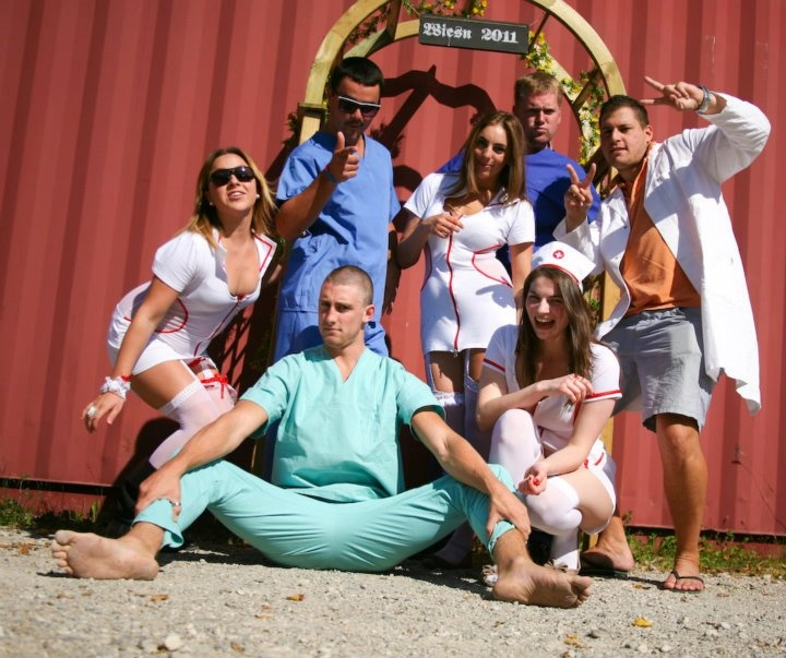 Hostival staff at Hangover Hospital Hostel - Oktoberfest, Munich Germany. naughty nurses and devilish doctors