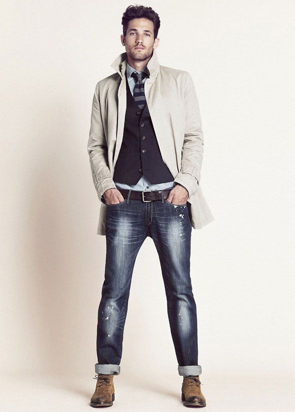 Jeans, trench coat and waistcoat for Max Rogers' refined look. / #AW2012 #HebyMango