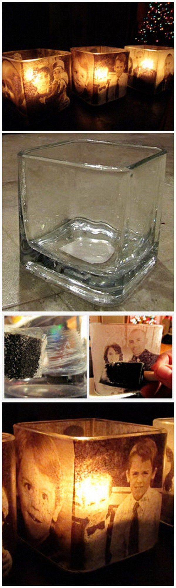 DIY Glowing Photo Candle Holders. A great way to display your loved photos with htis creative project! Also make great gifts for your family!