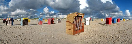 Strandkorb, Panorama, Amrum, Strand