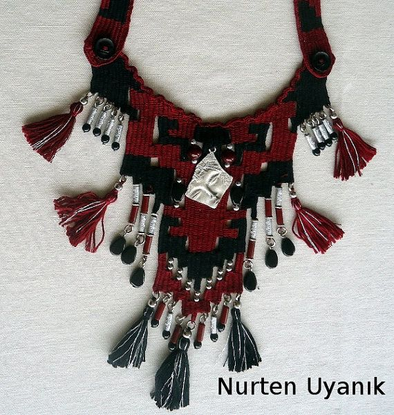 Necklace Mahogani Black Rug Pattern Necklace by MacrameCreations, $80.00