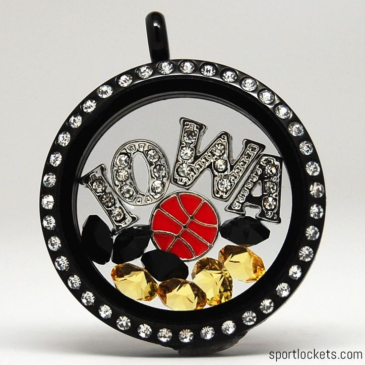 Iowa Hawkeyes themed locket necklace from SportLockets.com. Customize with your own letters, stones, and charms!