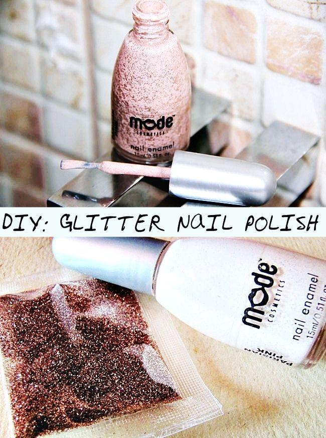 DIY: Rose gold glitter nail polish | DIY nail polish ideas, rose gold glitter nail polish