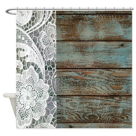 Teal barn wood lace western country shower curtain on wish list pinterest for Country style bathroom shower curtains