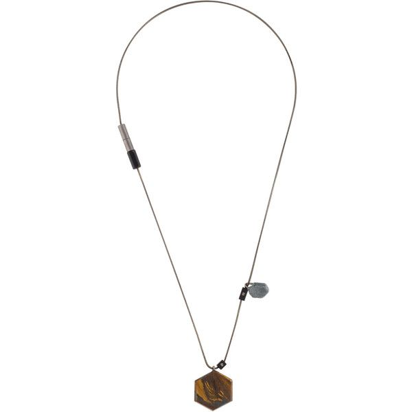 Pre-owned Lanvin Tiger's Eye Pendant Necklace (375 CAD) ❤ liked on Polyvore featuring men's fashion, men's jewelry, men's necklaces, mens pendants, mens necklaces, mens necklace pendants and mens pendant necklaces