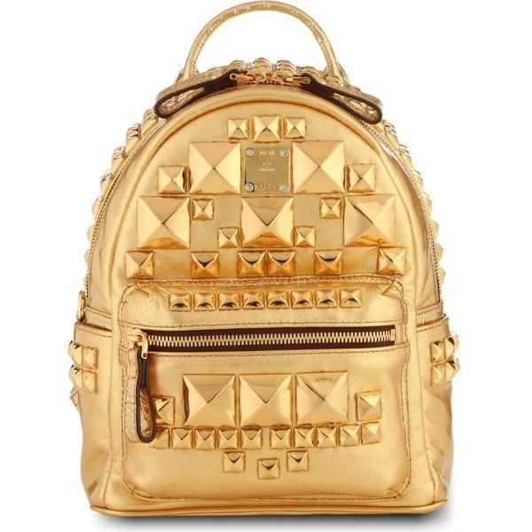 MCM Studded small metallic-leather backpack ($1,495) ❤ liked on Polyvore featuring bags, backpacks, accessories, mcm, gold, genuine leather backpack, leather knapsack, leather bags and studded bag