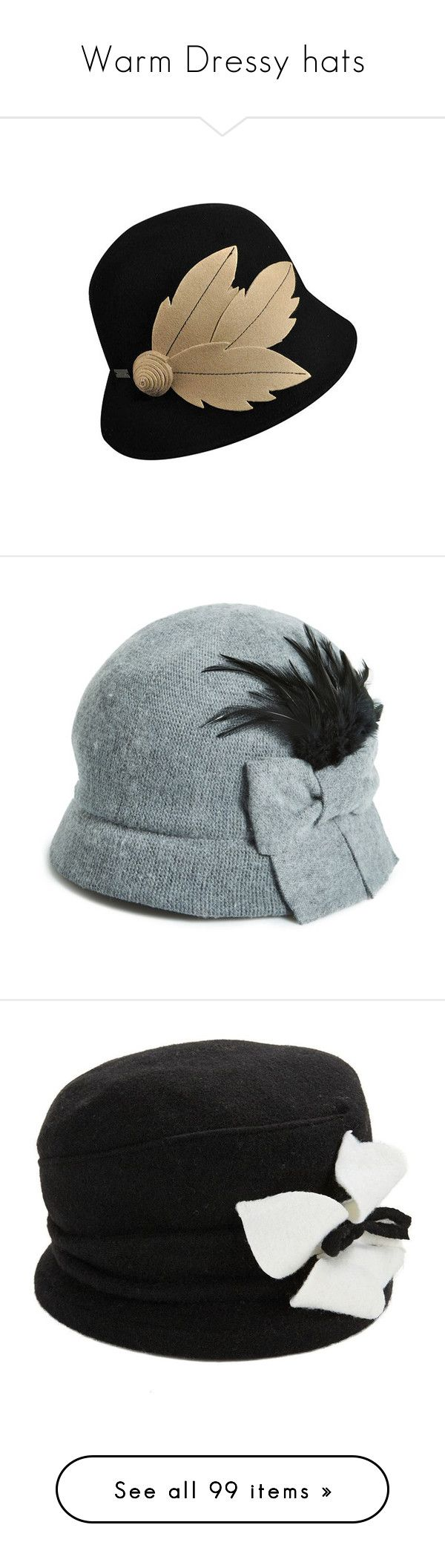 """""""Warm Dressy hats"""" by judymjohnson ❤ liked on Polyvore featuring accessories, hats, black, fisherman hat, black bucket hat, bucket hat, betmar, betmar hats, grey and grey hat"""