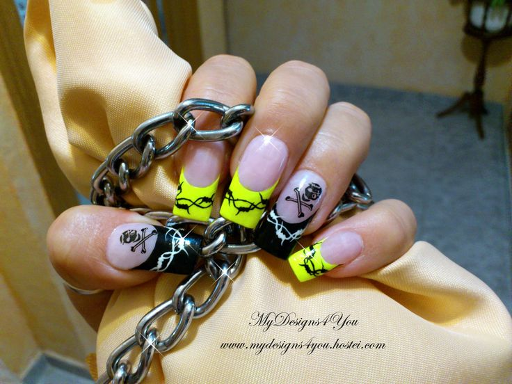 neon Yellow & Black, Barbed Wire & Scull punk, rock nails. @Liudmila Vorobyova Vorobyova Vorobyova Zacharova