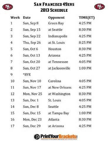 Printable San Francisco 49ers Schedule - 2013 Football Season
